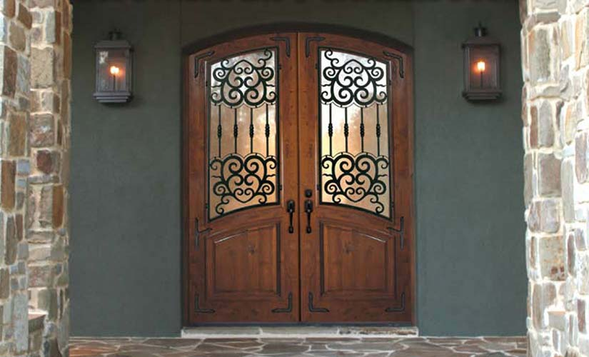GC Series Knotty Alder Barcelona Wrought Iron Exterior