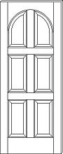 RP-6090 Contemporary 6-Panel Round Top Door
