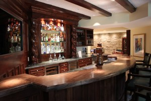 Bar area of wine cellar. Door is on the right.