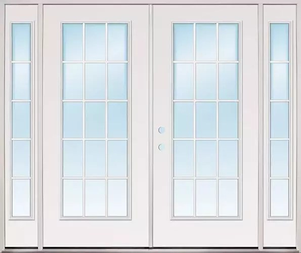 8 0 wide 15 lite fiberglass patio prehung double door unit with sidelites