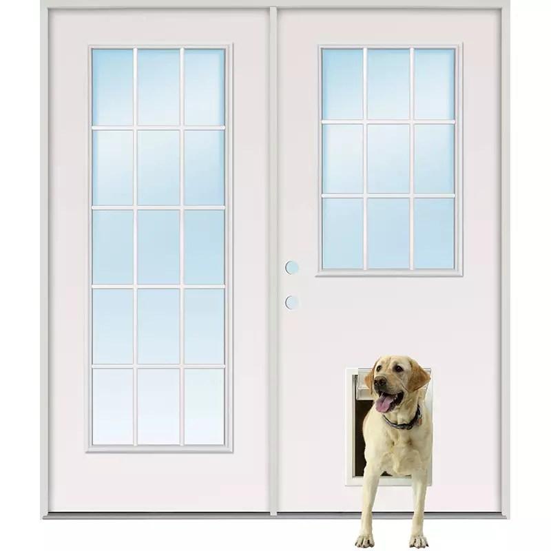 15 lite 9 lite fiberglass patio prehung double door unit with pet door installed