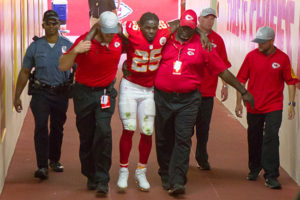 October 11, 2015: Kansas City Chiefs running back Jamaal Charles (25) is brought into the locker room after being injured during the NFL AFC game between the Chicago Bears and the Kansas City Chiefs at Arrowhead Stadium in Kansas City, Missouri