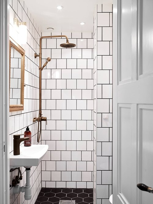 Dream Home Shower with White Square Tile Walls Black Hexagon Tile Floor Bathroom