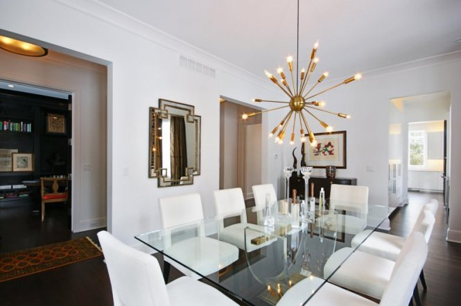 Dining Room With Brass Sputnik Chadelier