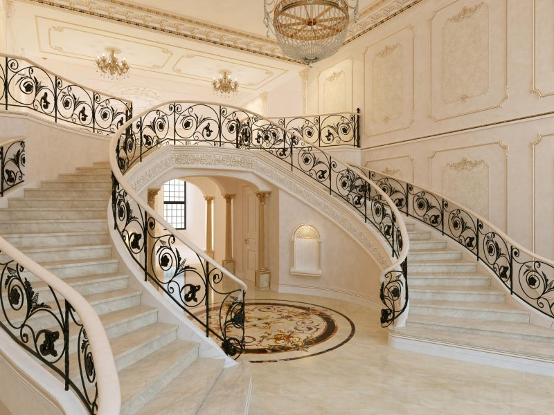 17 Decorative Wrought Iron Railings For Any Style Home Doorways | Wrought Iron Stair Railings Interior Cost | Wood | Cast Iron Spindles | Stair Spindles | Staircase Ideas | Iron Staircase Railings