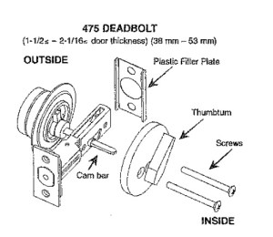 Sargent 475 Single Cylinder Deadlock, Deadbolt, Dead Bolt