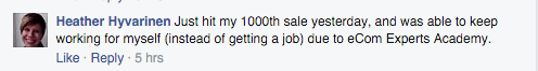 1000th sale, able to continue working for self