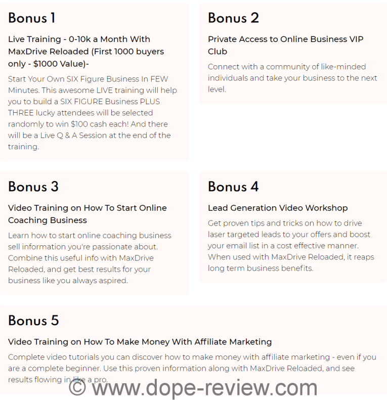 MaxDrive Reloaded Bonus