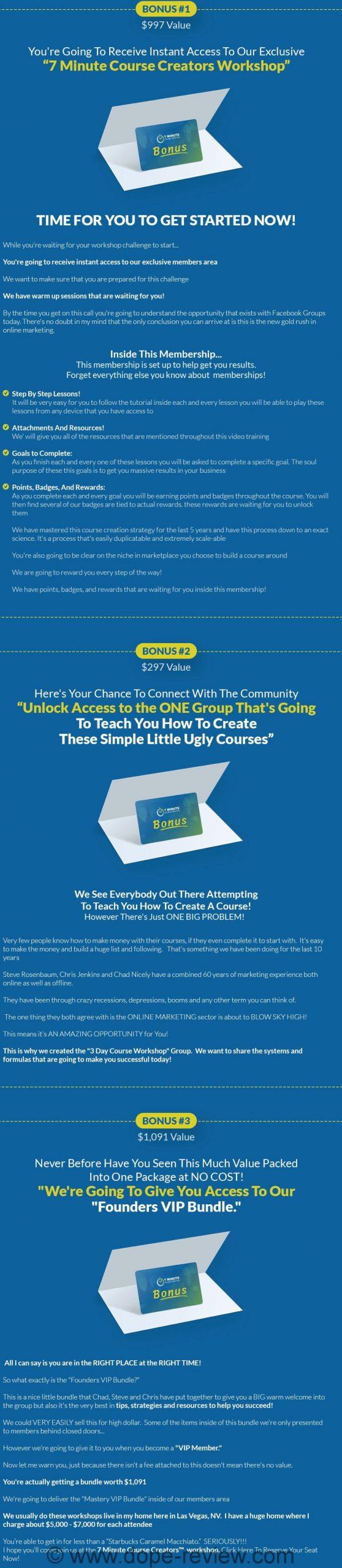 7 Minute Course Creators Bonus