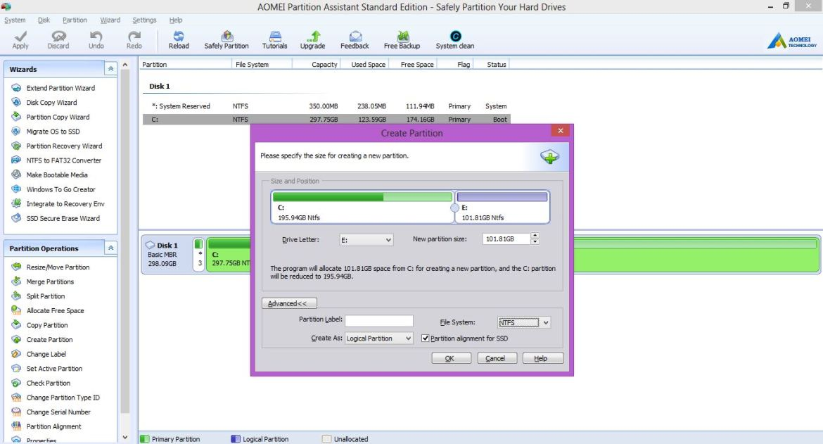 Free partition manager