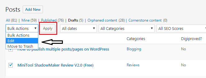 bulk publish WP