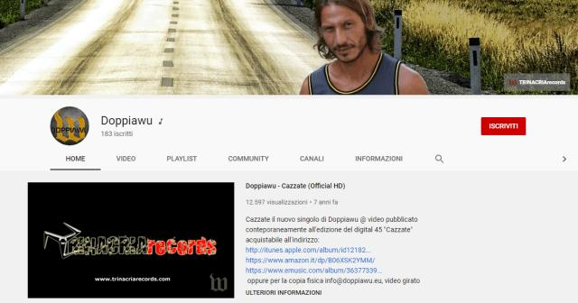 Pagina iniziale del canale ufficiale di Doppiawu su YouTube.
