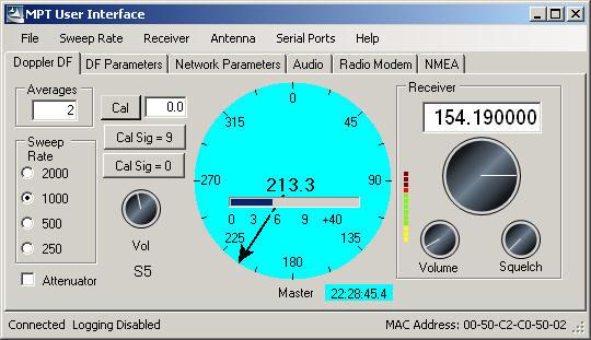 Doppler MPT User Interface Direction Finder Homing Software