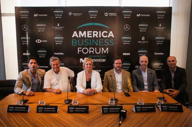Ignacio-Gonzalez-Castro-Enrique-Antia-Lilam-Kechichian-German-Cardoso-Antonio-Carambula-y-Fernando-Leis-en-la-presentacion-de-America-Business-Forum-scaled