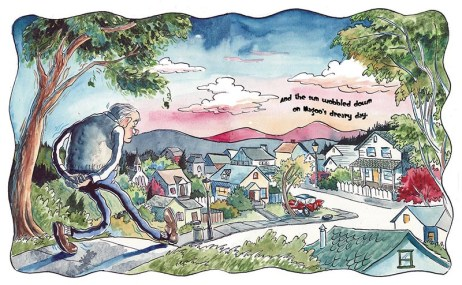 """Double-page spread illustration for """"A Day in the Life of Old Wiggles Magoo,"""" by John Falola (forthcoming; The Weeksman Press)."""