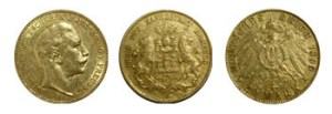 20 Reichmarks, pièces en or
