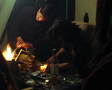 a blow torch applied to wired potato batteries Pic by D.Selden © Dorfdisco 2008