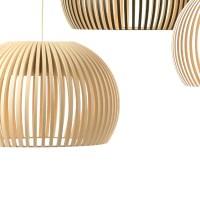 Secto Atto 5000 Birke natur LED   Pendelleuchte aus Holz