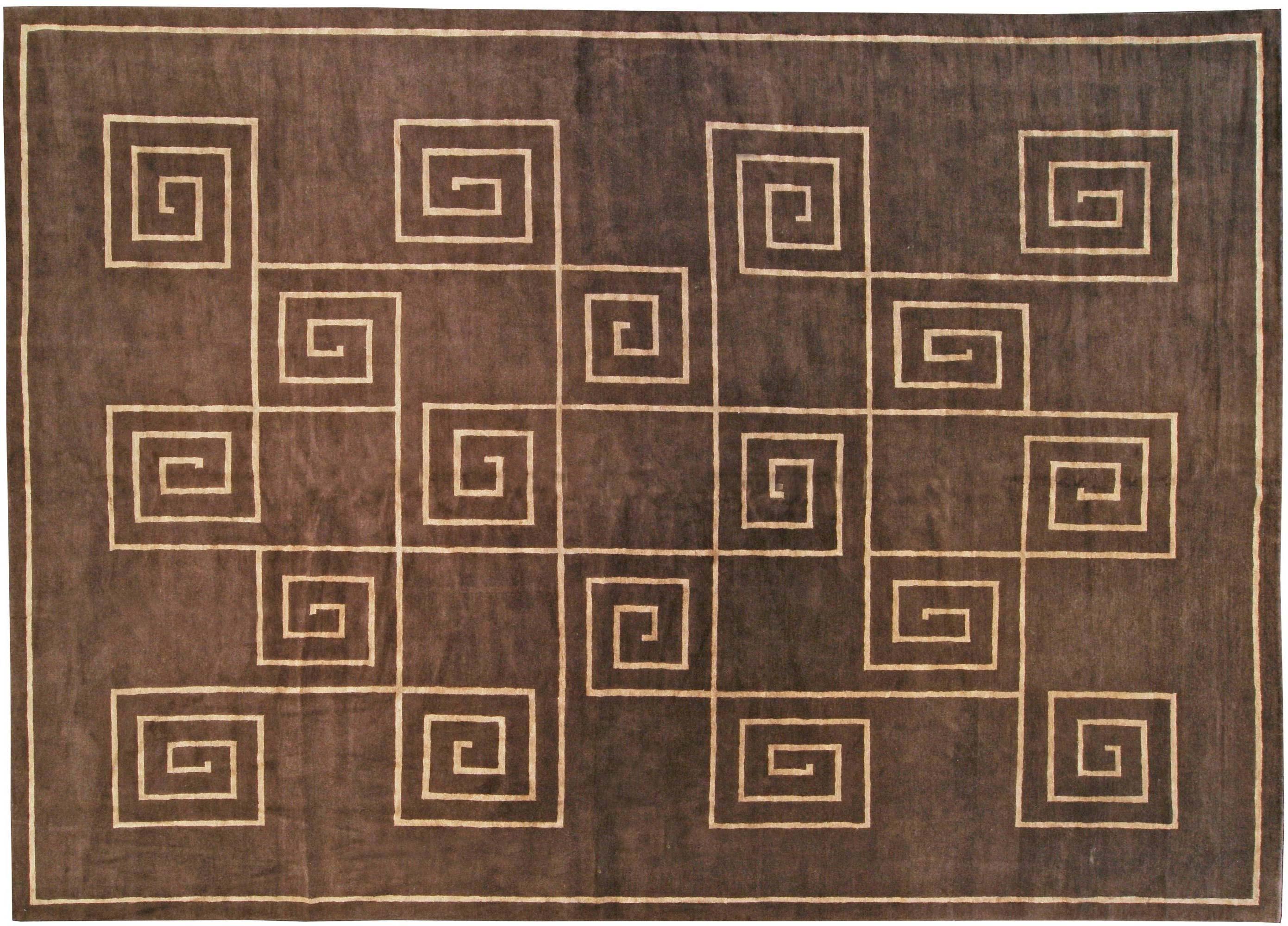 Tibetan Greek Key In Chocolate Brown And Golden Beige And Silk Rug N10957 By Dlb