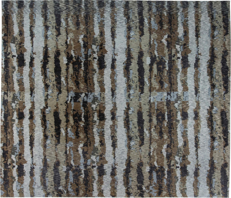 Tibetan Warm Brown Sandy Beige Pastel Blue And White Wool Rug N11537 By Dlb