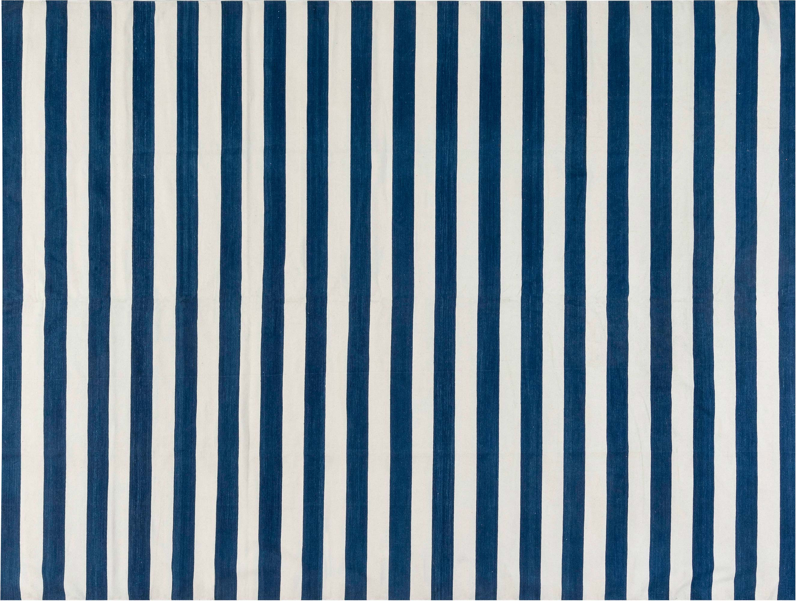 Contemporary Blue And White Striped Dhurrie Design Rug N11941 By Dlb