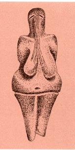Statuette aus dem Jungpaläolithikum mit schlitzförmigen Augen, aus denen Ströme auf die schweren Brüste hinabfließen. Höhe 11 cm (Ton und Knochenmehl gemischt, aus Dolni Vestonice, Mähren, um 24'000. (Nach Gimbutas ›Die Sprache der Göttin‹ 1995, S. 51)