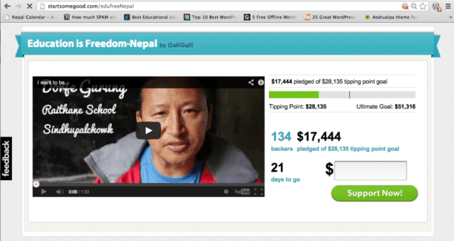 Education is Freedom-Nepal Campaign Status