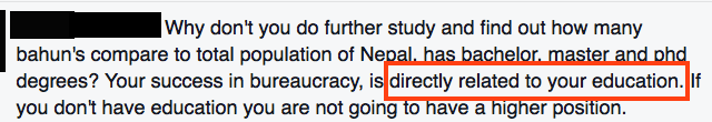 E1.1 Adhikari's comment about education-only