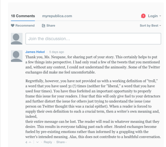 1. Arresting a Troll Comment 1