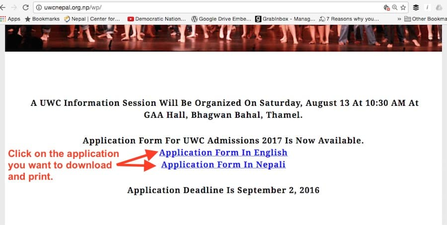 1.1 application forms on UWCNepal website