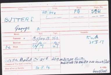 George Butters Medal Roll Index Card © ancestry.co.uk