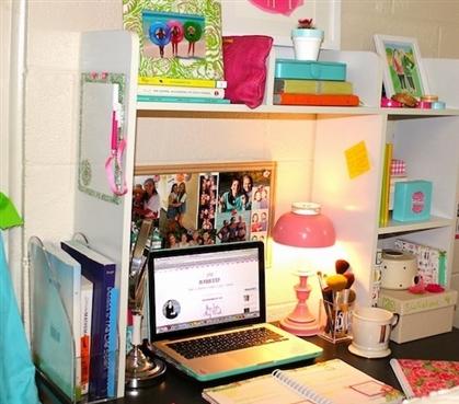 Classic Dorm Desk Bookshelf White