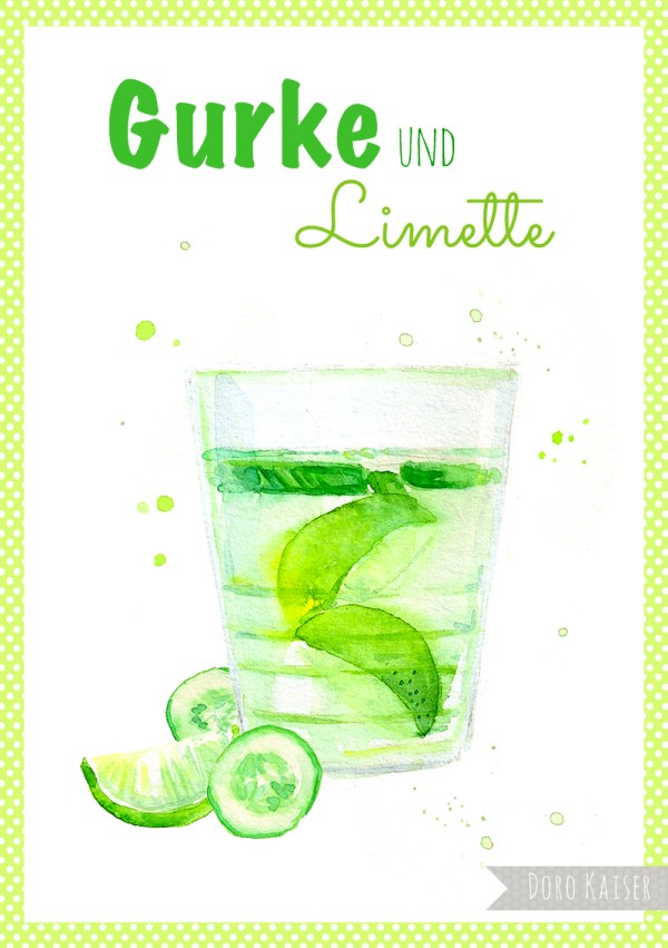 "Food Illustration "" Infused Water Gurke und Limette "", Doro Kaiser 
