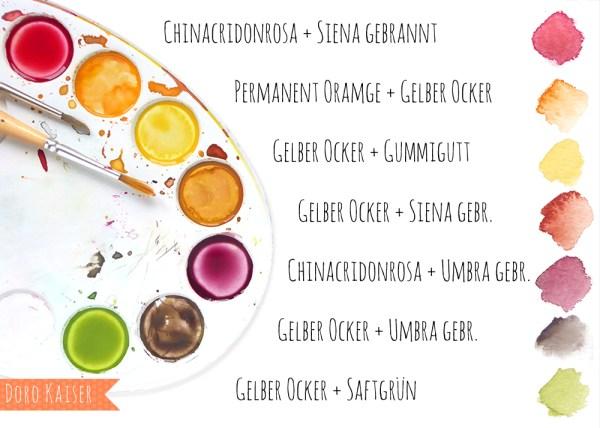 Farben Mischen | Malen Lernen mit Aquarellfarben: Herbstblätter | www.dorokaiser.online.de