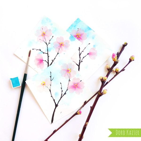 Kirschblüten aus Flower Washi Tape | www.dorokaiser.online.de