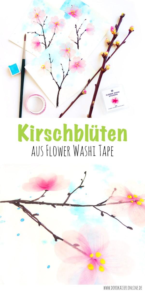 Eine Anleitung für ein Frühlingsbild: Kirschblüten aus Flower Washi Tape | www.dorokaiser.online.de