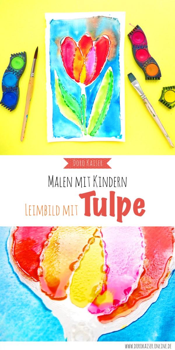 Malen mit Kindern: Tulpe mit Wasserfarben und Leim | www.dorokaiser.online.de