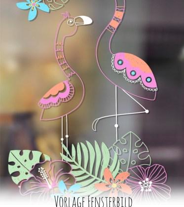 Flamingo Fensterbild