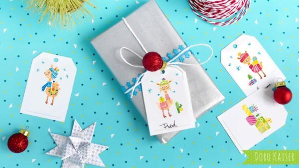 Geschenkanhänger Lama für Weihnachten | www.dorokaiser.online.de
