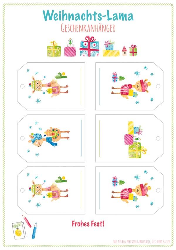 freebie geschenkanh nger mit lamas zum ausdrucken doro kaiser grafik illustration. Black Bedroom Furniture Sets. Home Design Ideas
