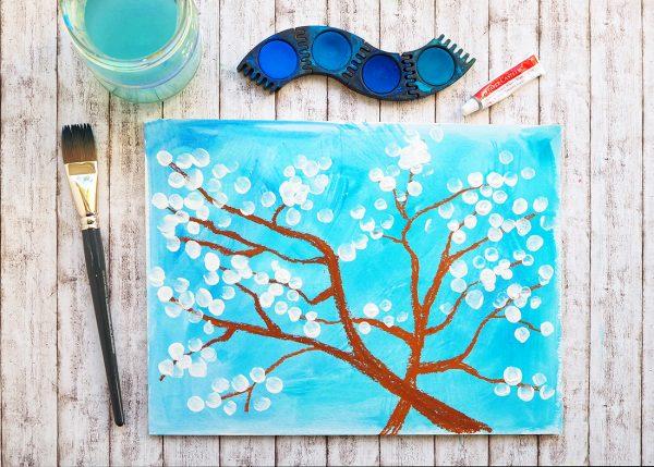 Malen mit Kindern Frühling nach van Gogh