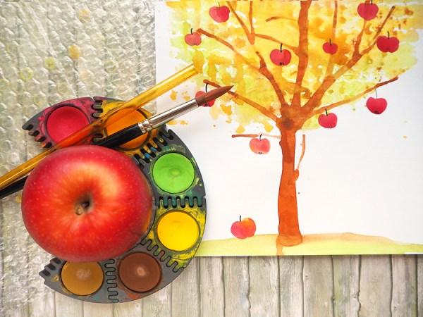 Material Apfelbaum malen