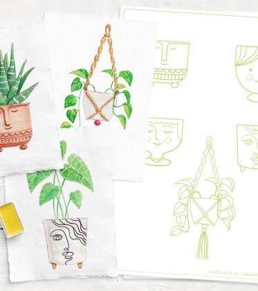 Malvorlage Blumentopf und Pflanzen malen