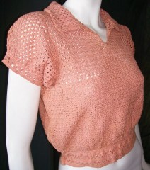 Vintage Sweater 30's PUFF SLEEVE Peach Crochet