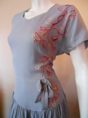 40s dress vintage dress embroidered Carole King
