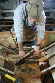 Tony Grove removing compromised floor timbers