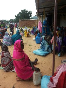 Camp meeting, Jabal Refugee Camp in eastern Chad, 1