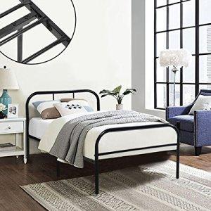 Cadre de lit en métal Coavas 91x197cm pour Adultes et Enfants avec 6 Pieds en Métal et Sommier Intégré (Lit 1 Place) – Noir …