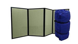 Combination Tatami Pliant et Futon Portable Bleu, 200x80x4 cm