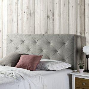 Tête de lit Milano 140X60, losanges en tissu gris, 8 cm d'épaisseur